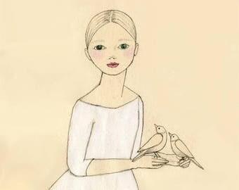 Sale Nest guardian Girl DELUXE print of original drawing illustration