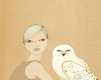 Sale Girl and White Owl print of original drawing