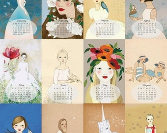 Sale 2018 Calendar : Fairy Tale Girl collection, Whimsical wall calendar by Irena Sophia