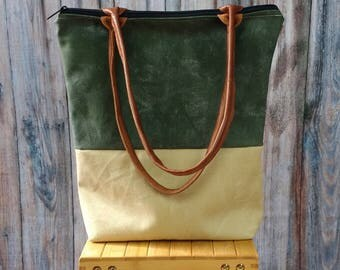 Waxed Canvas Tote - Waxed Canvas Tote Bag - Waxed Canvas & Leather Tote - Tote Bag Canvas - Tote Bag with Zipper - Tote Bag Leather Canvas