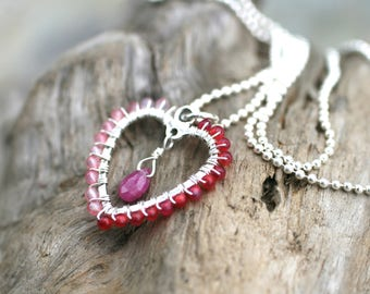Pink Agate, Pink Sapphire Gemstone, Wire Wrapped Heart Charm Pendant,Sterling Silver,Hot Pink Agate Pendant,Heart Necklace,Gemstone Necklace