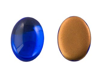 Vintage Sapphire Blue Glass Gold Foil Cabochons 18mm x 13mm (2) cab5005L