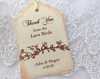 Thank You Tags, Love Bird Thank You Tags, Bird Thank You Tags, Wedding Tags for Birdseed, Set of 10