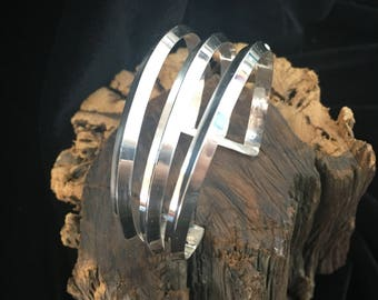 Asymmetrical Sterling Silver Cuff Bracelet  (Medium to Large Woman's)