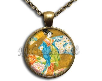 25% OFF - Geisha Woman Golden Japanese Art Design Glass Dome Pendant or with Chain Link Necklace  AN143