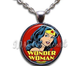 25% OFF - Wonder Woman Comic Glass Dome Pendant or with Chain Link Necklace  FT131