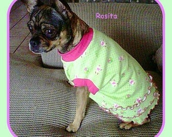 Pet Clothing, Long Bodied Pups, Dachshund   To Order Casual Dress Pinks and Greens