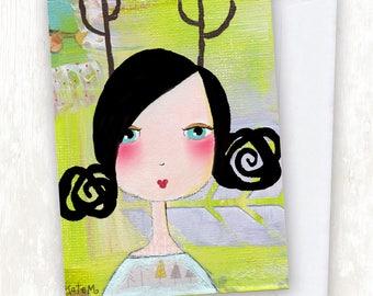 Painted Deer Girl GREETING CARD