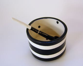 whimsical pottery Salt Dish w/ handmade ceramic spoon Black & White stripe, sugar bowl, condiment dish