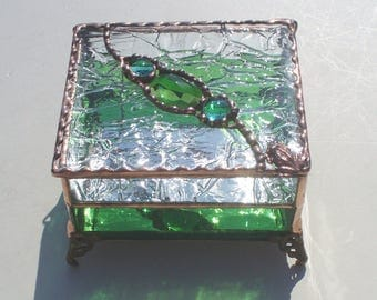 Stained Glass Box with Faceted Glass Jewel and Nuggets with Frog or Your Choice of Handle