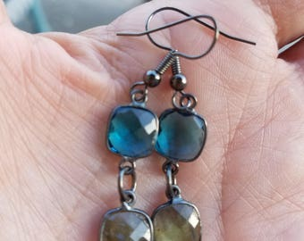Oxidized Sterling Earrings Blue Topaz and Rainbow Labradorite Square Drops