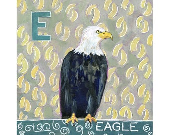 Wall Art, Home Decor, Art on Wood, Eagle Painting, Original Artwork 8X8 | Eagle