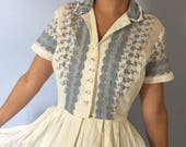 Vintage Shirt Dress - Blue and White Eyelet - Small -1950s
