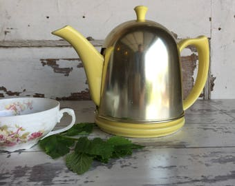 Vintage Hall Teapot - Dome Yellow Art Deco Aluminum Cozy Yellow