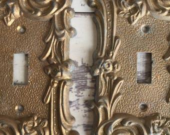 Vintage Brass Edmar Switch Plate Covers - Art Nouveau Style