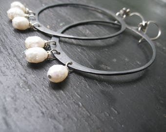 Prospects - Oxidized Hammered Silver Hoops Faceted Pearl Drops Wildflower Wires Jane Plain Organic Roots Earrings