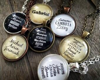 Custom Names Children Grandchildren : Glass Dome Necklace or Key Ring, Keychain personalized jewelry. Mom Grandma Nana Mimi adopt
