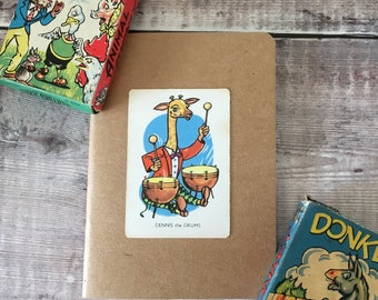 Giraffe Notebook with vintage playing card cover A6 size