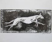 BirdsforBirds Running Greyhound art block print greyhound