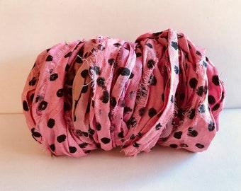 Silk Sari Ribbon-Recycled Pink Polka Dot Sari Ribbon-10 Yards