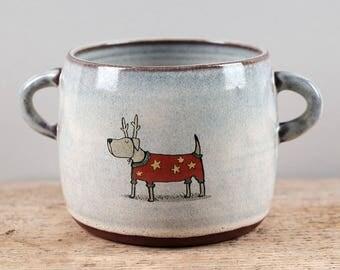 Christmas Dog Pot with Handles