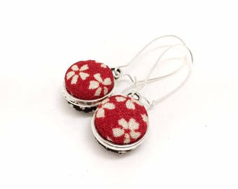Double Sided Earrings - Red and Black Sakura