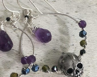 Skull candy wire wrapped hoop earrings sterling and pewter