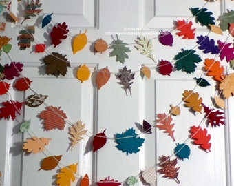 New Fall Leaf Garland ...9 Ft of Leaves and Acorns..Fall photo prop..removeable gift tag...Thanksgiving...fall decor...fabulous colors