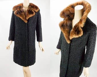 Vintage Black Curly Persian Lamb Coat with Mink Collar Lafamme Fourrure B38