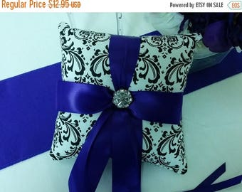 ON SALE SALE Damask Ringbearer Pillow- Was 26.95  Black White Madison Dsmask Ring Pillow Purple- Ready to Ship