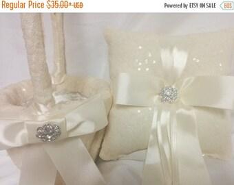 ON SALE Ivory Sequin Ring Pillow or Basket - Flower Girl basket-Ringbearer, Wedding, Bridal, Sequin,  Ribbon Choice, Bling Diamond