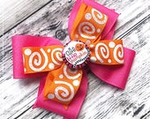 OOAK Stacked Classic Halloween Boutique Hairbow 4 Inch Posh Bow~Cute little Pumpkin Hot pink Orange Glitter Swirls