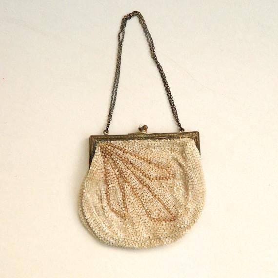 Vintage Ivory Beaded Bag France