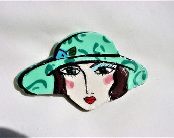 Vintage 80s Head Hat Pin Brooch Polly Cook Handpainted Ooak Plaster