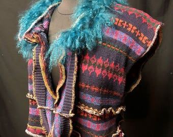 Vest Repurposed Sweater Pieces Mongolian Lambswool Collar Woman Hand Painted Hand Dyed Appliques Art To Wear Upcycled Recycled