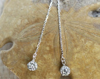 Swarovski Crystal Ball Ear Threader Earrings