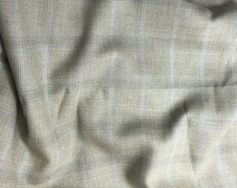 Tan & Light Blue Plaid - WOOL Suiting Fabric 1/4 yard remnant