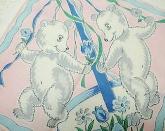 vintage hankie handkerchief white dancing bears May pole child size