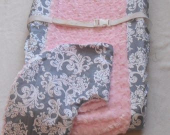 Gray Damask and Light Pink Rosebud Changing Pad and Nursing Pillow Cover