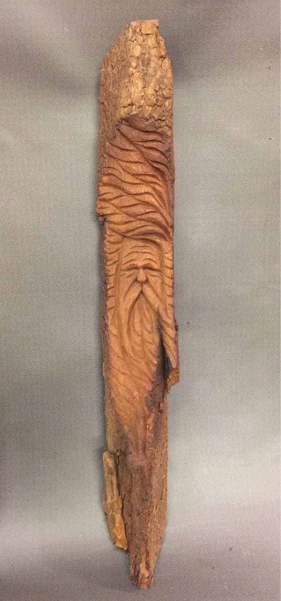HAND CARVED original Wood Spirit  from 100 year old Cottonwood Bark