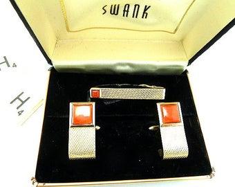 Mid Century Style Swank Cuff Links and Tie Bar Set  WM112