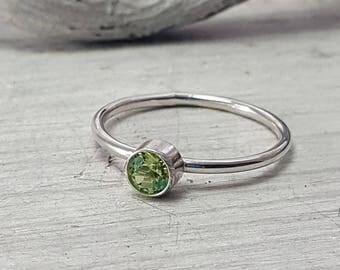 Green Peridot Ring Dainty Peridot Stacking Ring 4mm Peridot Sterling Silver Ring August Birthstone