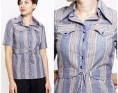 Vintage 1970s Belted Button-up Chambray Shirt with Nubby Rainbow Stripe Stitching by Christenfeld | XS Small