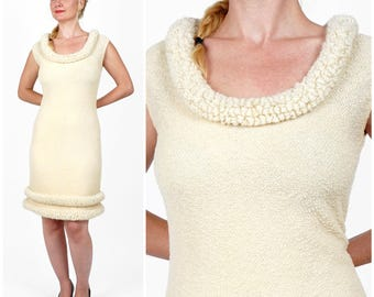 Vintage 1960s Sleeveless Cream Wool Knit Dress with Raised Ruffled Collar and Hem by Goldworm | Medium