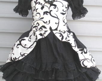 Ready to Ship Custom Boutique Black White flocked Taffeta 4 piece outfit Dress Will Size Girl Size 4