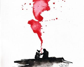 Old love painting 8x12in 21x30cm  - A4 canvas sheet -  ink  art - black silhouettes and red smoke