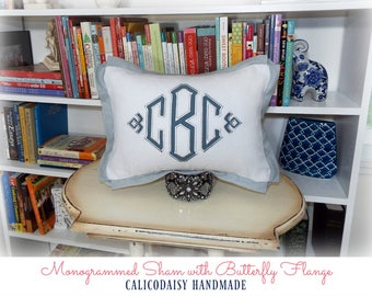 Applique Framed Monogrammed Pillow Cover - Butterfly Flange - Lumbar