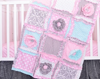 Crib Bedding Rag Quilt Baby Blanket Size - Light Pink / Mint / Gray Baby Bedding - Modern Nursery Girls Bedroom - Boho Quilt Coastal Bedding