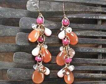 Summer SALE Peach Moonstone, AAA Pink Sapphire, Pink Opal, Smokey Quartz, Rainbow Moonstone dangle earrings, 14k gold filled hook ... SUMA E