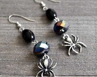 ON SALE Silver Spider Earrings Gothic Style Black Crystal & Glass Beads Sterling Silver Ear Wires